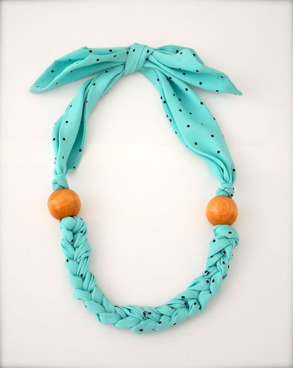 Turquoise Blue Scarf Necklace - Fabric Statement Necklace - Fabric Jewelry polka dot beaded wood