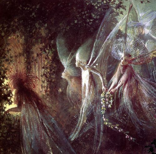 "John Anster Fitzgerald, ""Faeries Looking Through a Gothic Arch"""