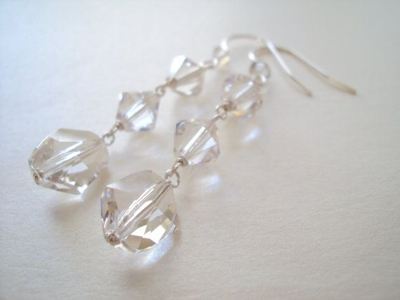 Swarovski Crystal Glamorous long dangly earrings in sterling silver (925)