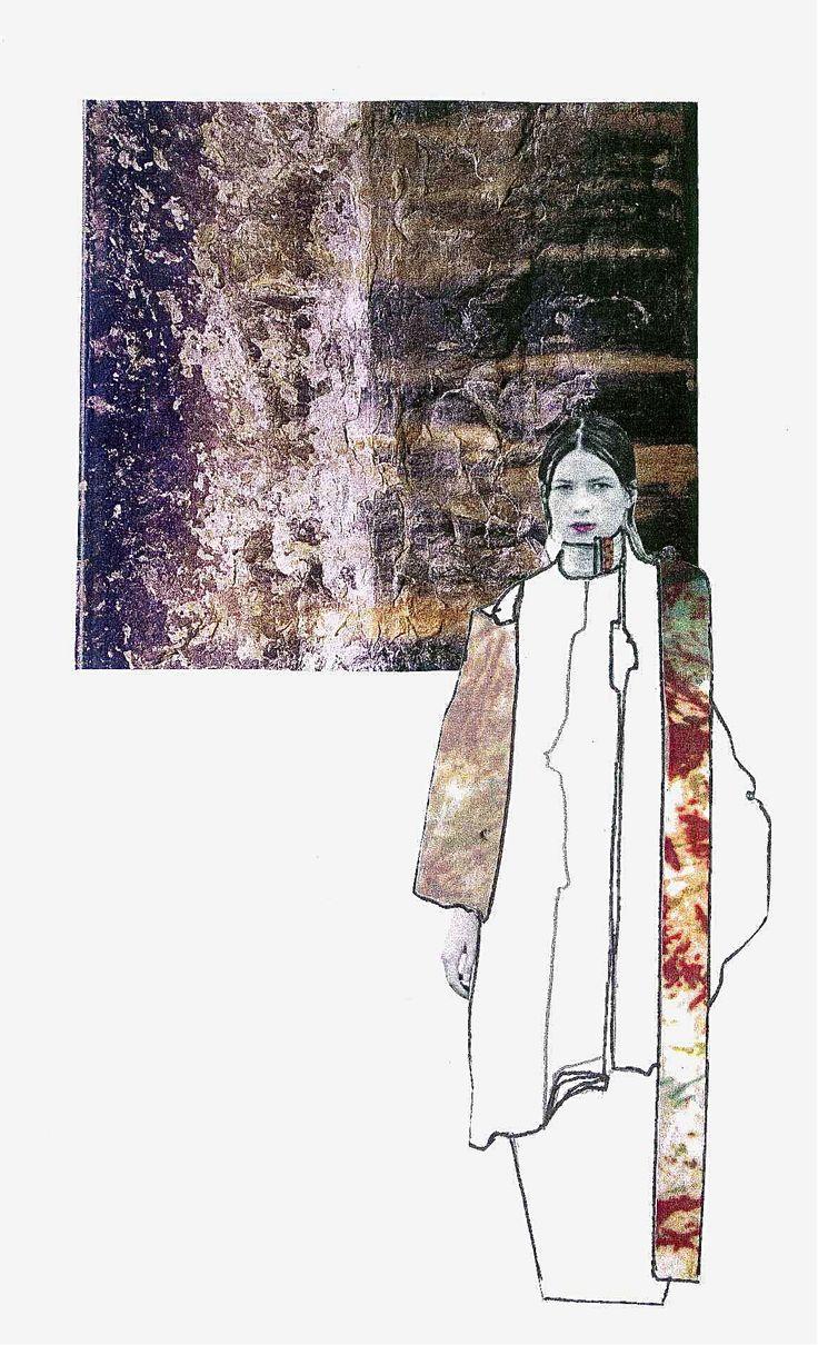 Fashion Sketchbook layout - decay-themed fashion design; fashion illustration; fashion portfolio // fashion student work, CSM