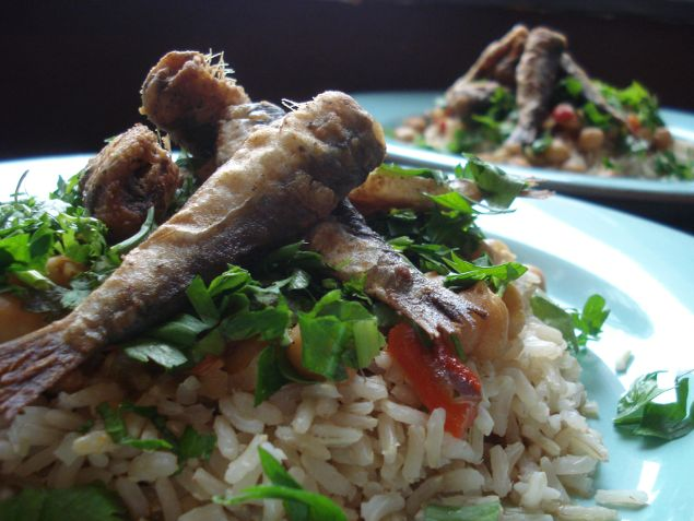 fried sardines with rice