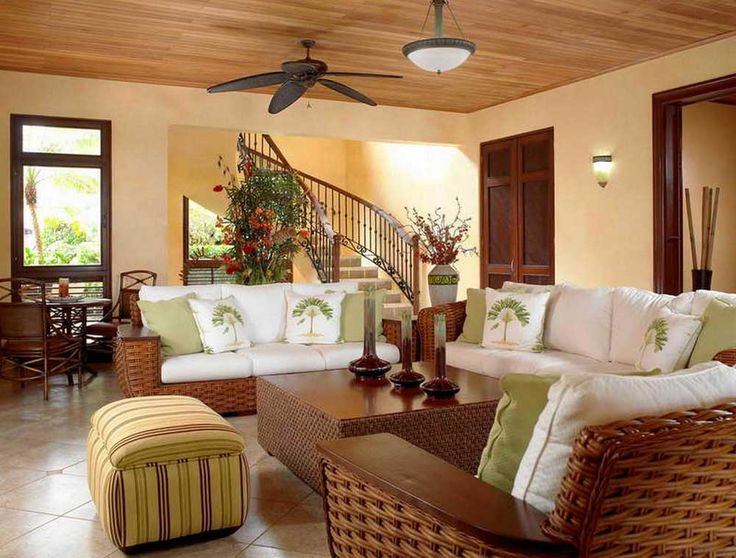 Staircase ideas living room with woven rattan sofa and ceiling fan sink