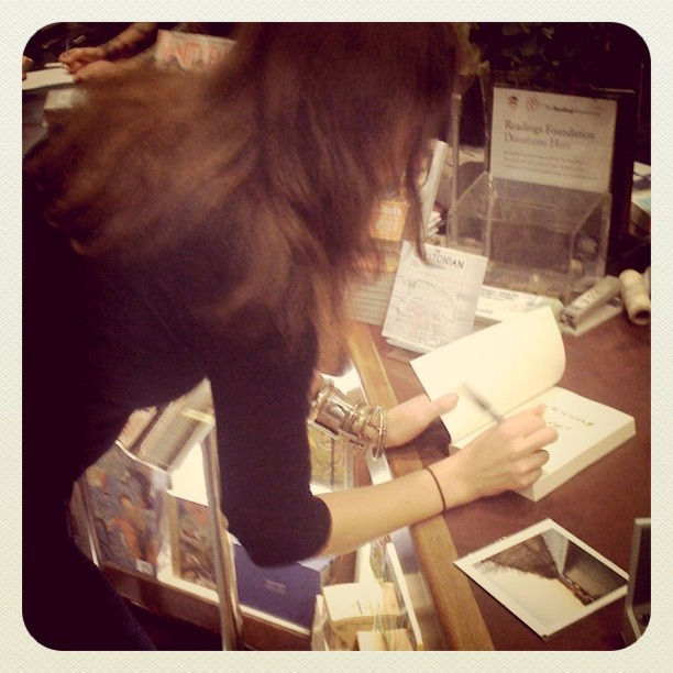 Drunk local author, signs first book (thanks, Ronnie Scott!)