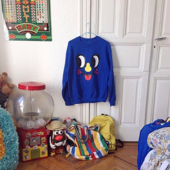 My Inky sweatshirt in my always-messy studio!