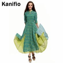 2014 Yeni Geliş Vintage Ulusal Elbise Moda Kadınlar Üç Çeyrek Kollu 2 Katmanlar Baskı Ayak Bileği Uzunluk Maxi Uzun Yenilik Elbiseler(China (Mainland))
