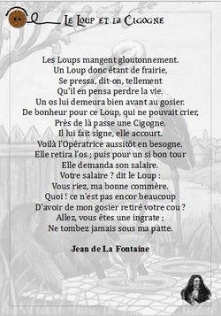 Le Loup Et La Cigogne Fables De La Fontaine Cigogne Poesie Enfant