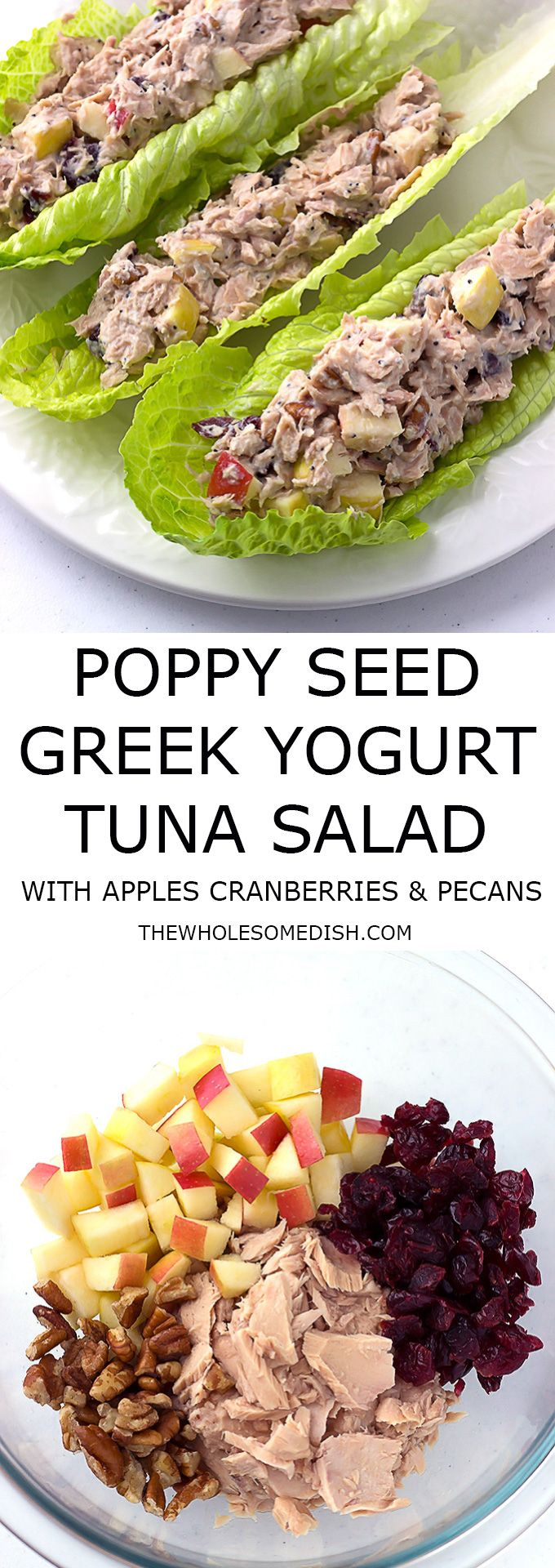 #ad Poppy Seed Greek Yogurt Tuna Salad with Apples Cranberries & Pecans - Serve it as a sandwich, wrap, on crackers, or on lettuce boats for a perfect low carb lunch. #Seafood2xWk