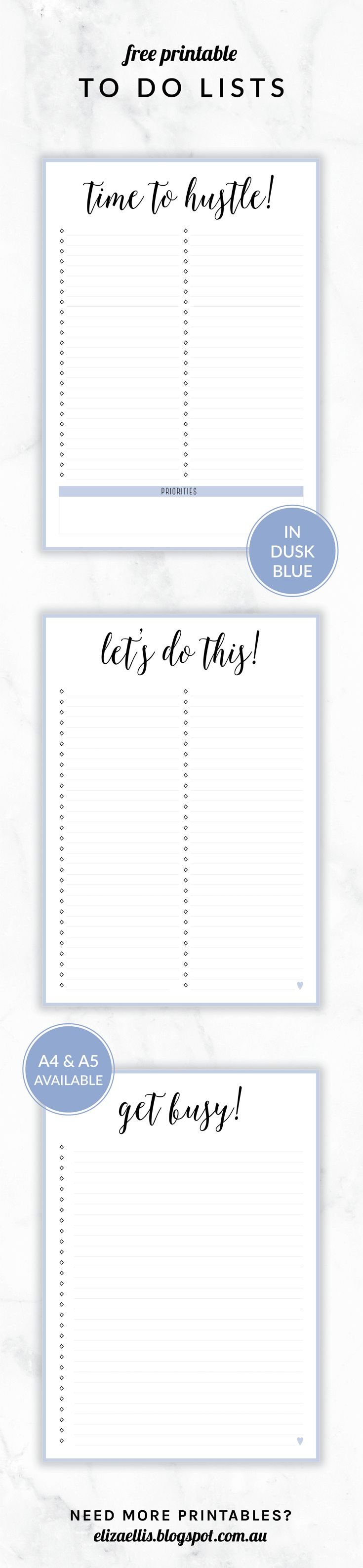 // Eliza Ellis    Free Printable Irma To Do Lists. Available in 3 Designs, 6 Colors and in both A4 and A5 sizes.