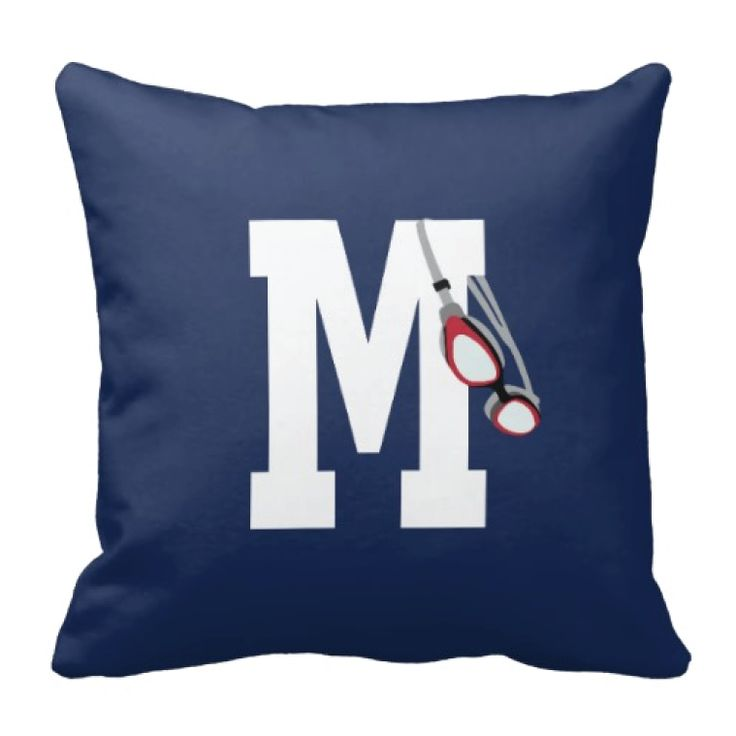 Personalized throw pillow for swimmers. Gift for high school swim team and coach. Swimmer's bedding and bedroom decor for teenage girls and boys.