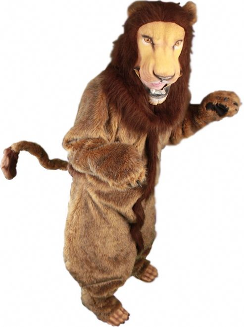 Full Lion Mascot Costume - Be the king of the jungle in this lion mascot costume. The costume is a full fur bodysuit that zips up the back. It is a mixture of yellows and oranges and has a brown stripe down the middle in the front. The arms are sealed at the ends and have plastic claws. There are furry shoe covers with plastic claws that slide on top of the shoe. The tail is separate and attaches around the waist with a wide elastic. #lion #mascot #yyc #mens #calgary #yyc