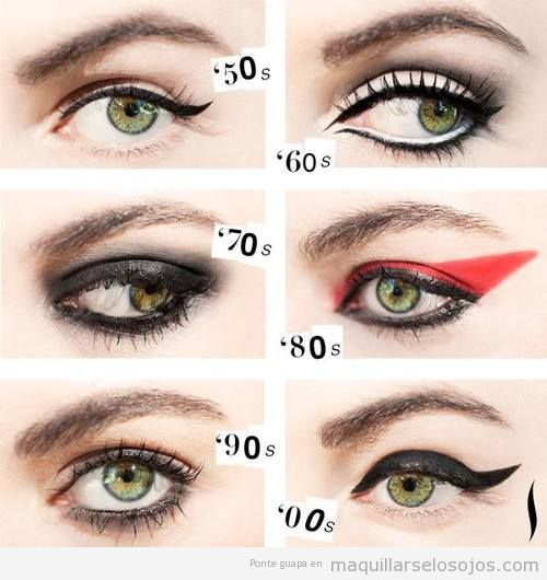 Estilo de perfilador o eyeliner años 50, 60, 70, 80 y 90                                                                                                                                                                                 Más