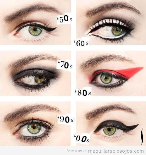 Estilo de perfilador o eyeliner años 50, 60, 70, 80 y 90
