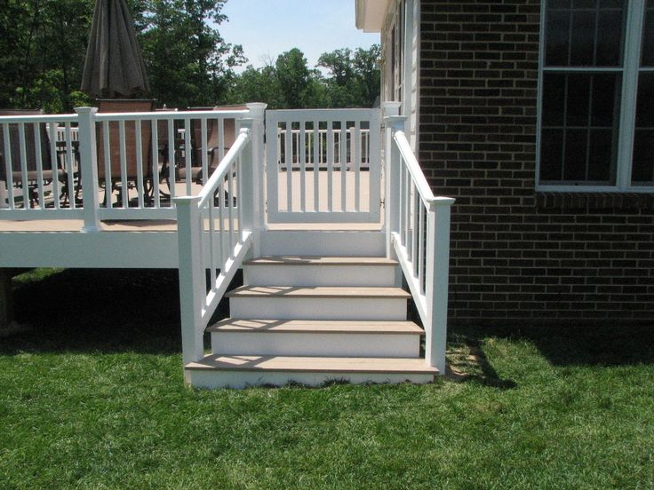 Azek Slate Grey Flared Deck Steps And Longevity White Pvc