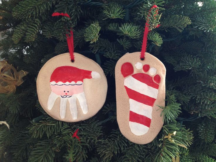 Baby hand and footprint salt dough ornaments