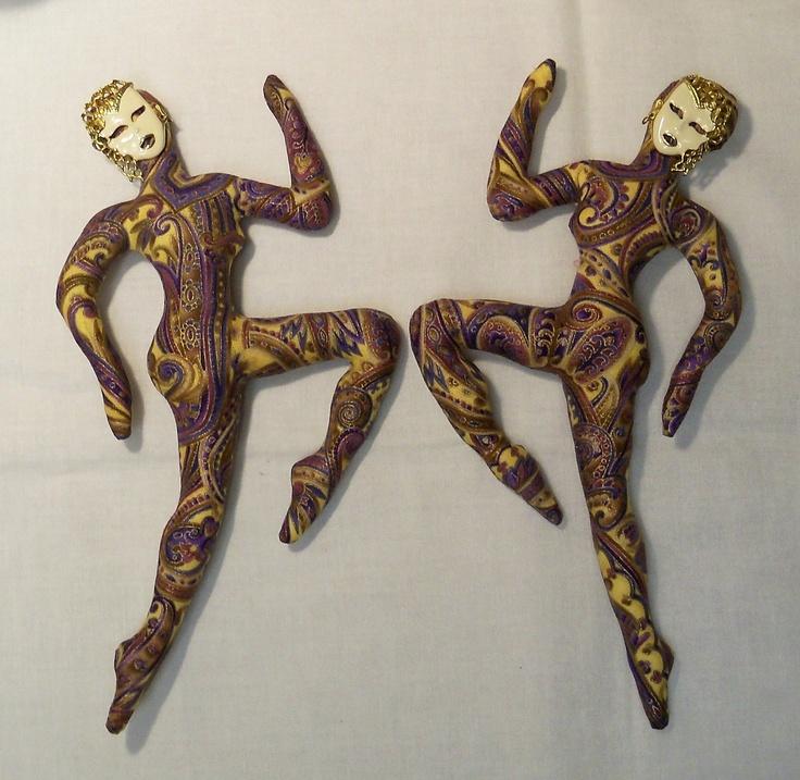 Two Dancing Diva cloth art doll forms w/ faces BEIGE Metallic fantasy goddess kit U Bead It Ooak. $39.00, via Etsy.