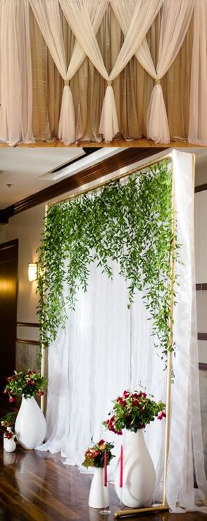 My idea for the wall cover / backdrop.  Hessian draped at the back with white draping over it and some greens and maybe a few flowers hanging from the top. I don't think this will be too difficult. What do you think?