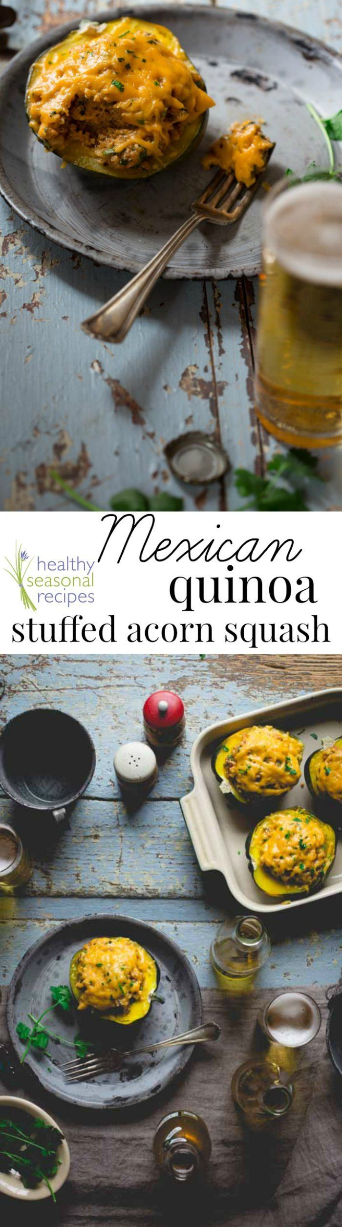Blog post at Healthy Seasonal Recipes : These Cheesy Mexican Quinoa Stuffed Acorn Squash take 30 minutes to make, they are gluten-free and vegetarian.    A couple weeks ago, I [..]