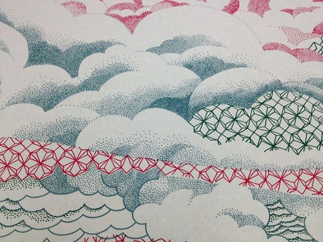 """Detail from """"Biwa,"""" screenprint on textile by Serena Perrone. She specializes in melding images recalling Japanese Edo woodcuts with domestic Western objects and architecture."""