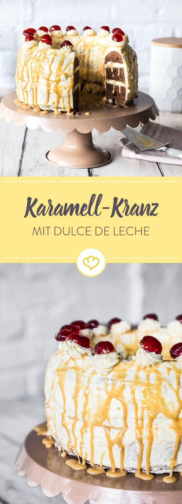 Schokolade, Vanille, Karamell: Diese Variation vom Frankfurter Kranz bringt maximales Glücksgefühl auf deine Gabel. Augen zu und genießen!