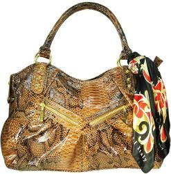 @Overstock - This gorgeous Vecceli Italy shoulder bag by renowned Italian designer Ronella Lucci features a chic, snake-embossed exterior and satin-finished lining. Brasstone accent hardware and a beautiful scarf at the double top handles complete this handbag.http://www.overstock.com/Clothing-Shoes/Vecceli-Italy-Brown-Snake-embossed-Shoulder-Bag/6201288/product.html?CID=214117 $64.99