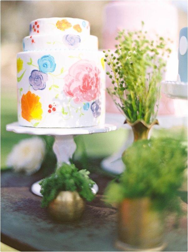 Summer watercolour wedding cakes ideas