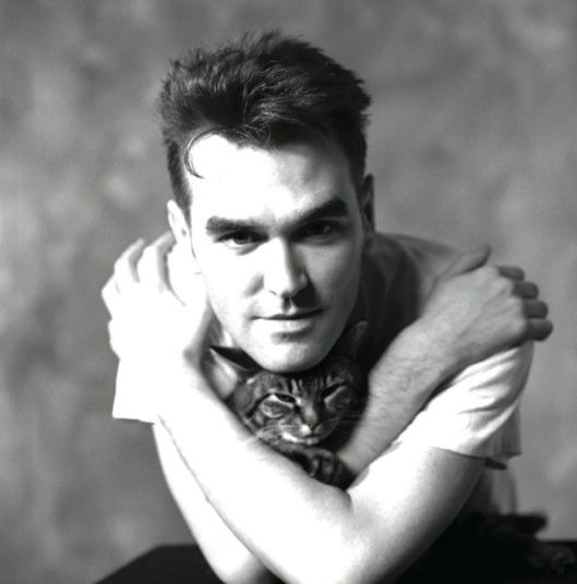 """Here Moz is in a studio in London with his cat, in 1989. He was always the animal lover and championed their cause."" Picture: Lawrence Watson"