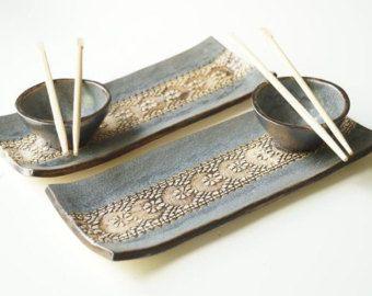 Sushi platos de servir Set para Sushi rústico 2 conjunto por bemika