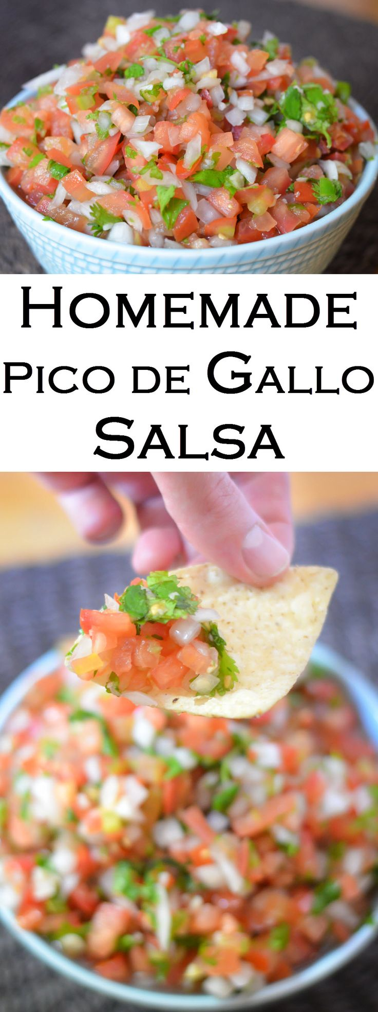 Homemade Pico de Gallo Salsa Recipe with fresh tomatoes, onion, cilantro, jalapeno, and lime juice.