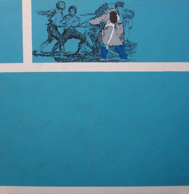 "Nikos Papadimitriou  painting  ""squad"", plastic carpet and oil colour on plywood, 110 x 110 cm, 2009."
