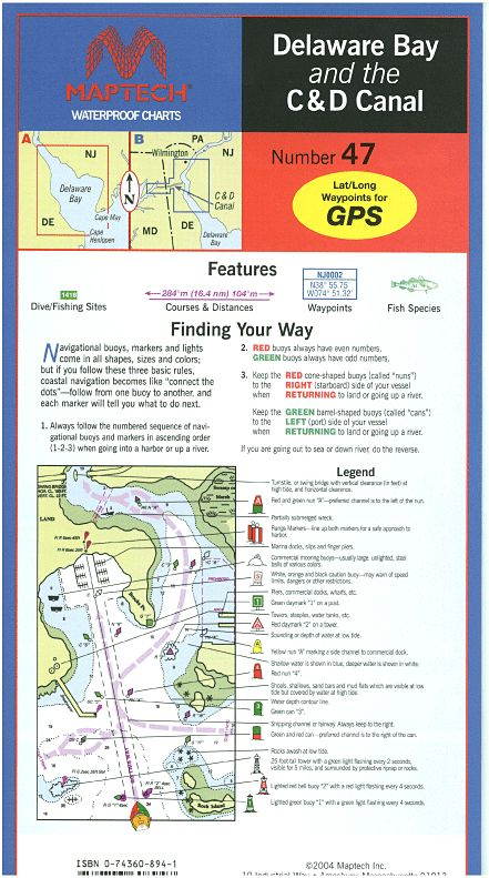 Delaware Bay and the C & D Canal Waterproof Chart