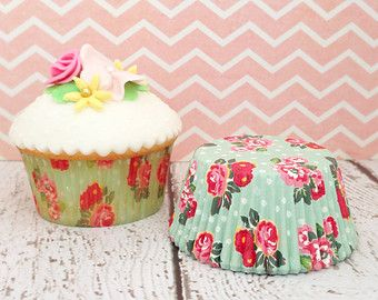 Approximately 25 Mint Vintage Floral Cupcake Liners (Greaseproof)