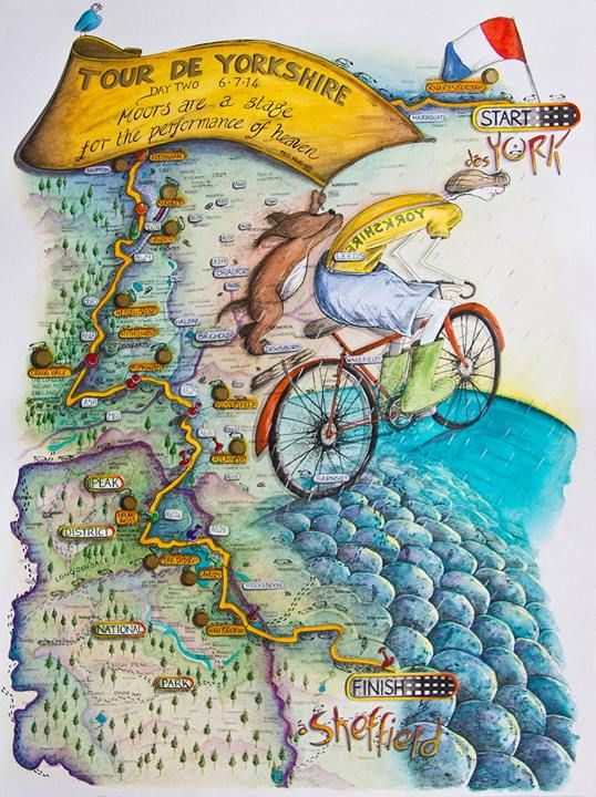 Stage Two Tour de France 2014 http://michellecampbellart.com
