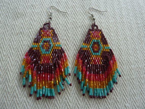Bohemian Style Seed Beaded Fringe Earrings in by amezti on Etsy