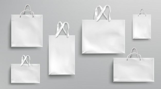 Download Download Paper Shopping Bags Mockup White Packages With Rope And Lace Handles Blank Rectangular Ecological Gift Packs Isolated Mock Up For Branding And Corpo Corporate Identity Design Bag Mockup Vector Free