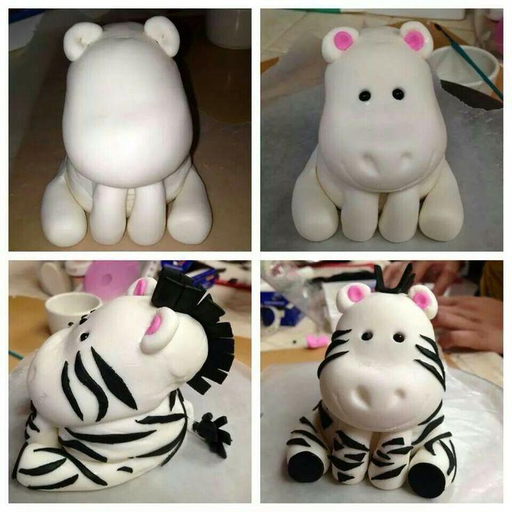Gumpaste Zebra cake topper