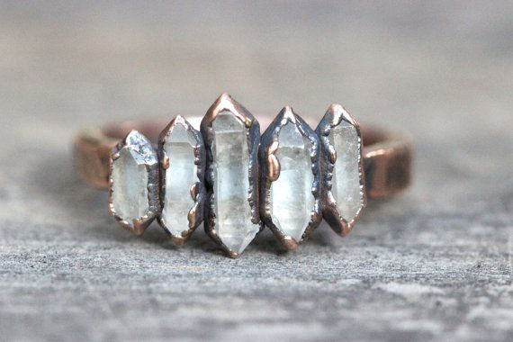 Raw Crystal Ring Quartz Crystal Ring Herkimer Diamond Ring Healing Crystals and Stones Natural Stone Jewelry Electroformed Ring Size 9