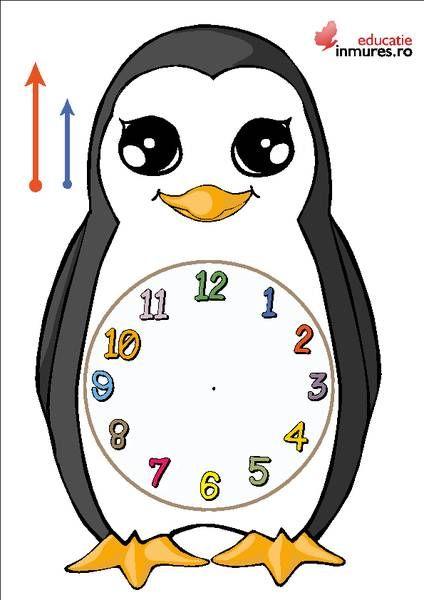 Cum construim un ceas pentru cei mici? http://educatie.inmures.ro/invatam-ceasul.html Vă propunem o activitate de lucru manual cu ajutorul căreia cei mici pot învăța să citească ceasul. 1. Decupați șablonul (forma pinguinului) și cele două săgeți indicatoare; 2. Prindeți cele două săgeți cu ajutorul unei pioneze; 3. Îndoiți pioneza la spate și acoperiți-o cu un carton. Acum cei mici au propiul lor ceas . Spor la creație!
