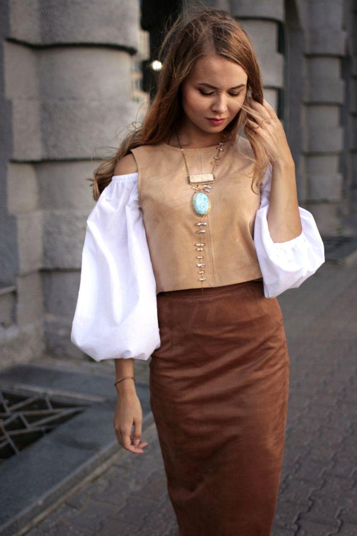 Suede Set of Top and Skirt with Cotton Blouse   Комплект из замшевого топа и юбки с хлопковой блузой — Купить, заказать, топ, юбка, блуза, блузка, замша, хлопок, ручная работа