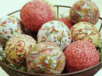 DIY vase filler! strips of fabric + dollar store wiffle balls + glue.