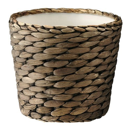 """DRUVFLADER Plant pot, water hyacinth, gray  Product dimensions Outside diameter: 6 """" Max. diameter inner pot: 4 ¾ """" Height: 4 ¾ """" Inside diameter: 5 """" (owned)"""