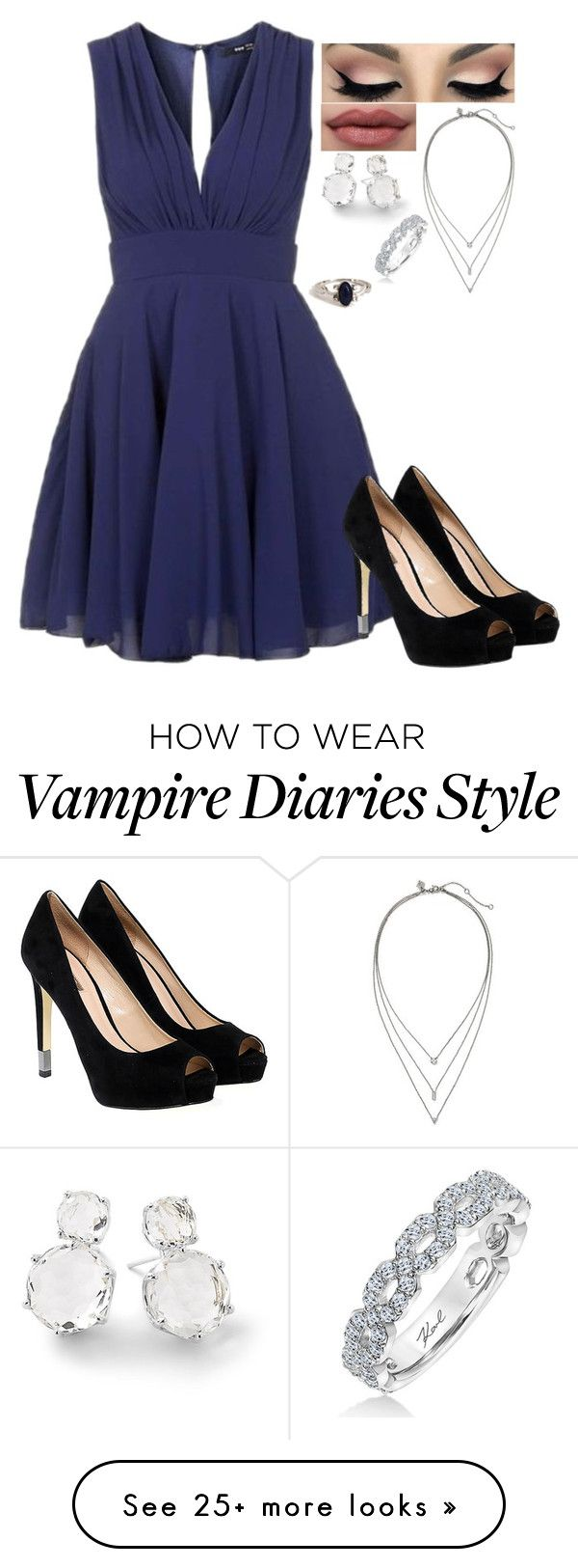 """""""Party with Stefan Salvatore (the vampire Diaries)"""" by j-j-fandoms on Polyvore featuring TFNC, GUESS, Banana Republic, Ippolita and Karl Lagerfeld"""