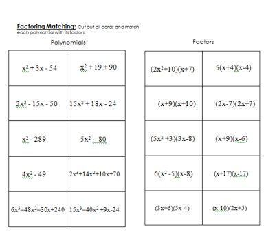 Printables Classifying Polynomials Worksheet 1000 images about polysfactoring on pinterest a student miss mathematics factoring polynomials matching