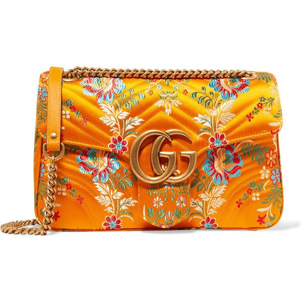 Gucci GG Marmont medium quilted floral-jacquard shoulder bag ($1,510) ❤ liked on Polyvore featuring bags, handbags, shoulder bags, gucci, saffron, floral handbags, quilted shoulder bag, orange purse, orange handbags and quilted purses