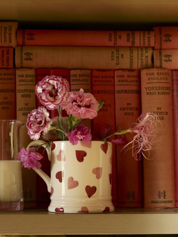 Favourite crockery & books.  Vintage books; hearts mug from Emma Bridgewater. #makesmehappy