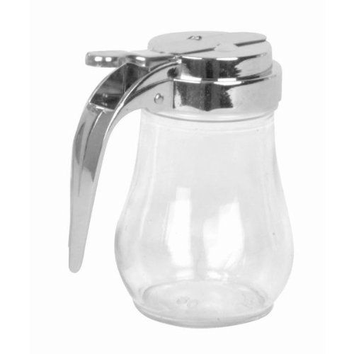 "Maple Syrup or Honey Dispenser - 6 oz by Winco. $3.79. Dishwasher safe.. Capacity: 6 oz.. Dimensions: 2 1/2""W x 4""H (4""W with handle).. Has cast zinc pour lid with rubber gasket.. Made of glass.. This durable syrup dispenser is just like the one you use at your local pancake house or diner. Made of solid glass with a cast zinc lid, this dispenser hold 6-ounces of syrup or honey. The lid has a rubber gasket and thumb-operated, spring-loaded lever mechanism to preven..."