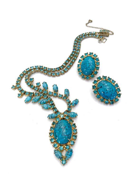 Vintage 60s Star Jewelry Rhinestone Demi Parure Necklace Earrings