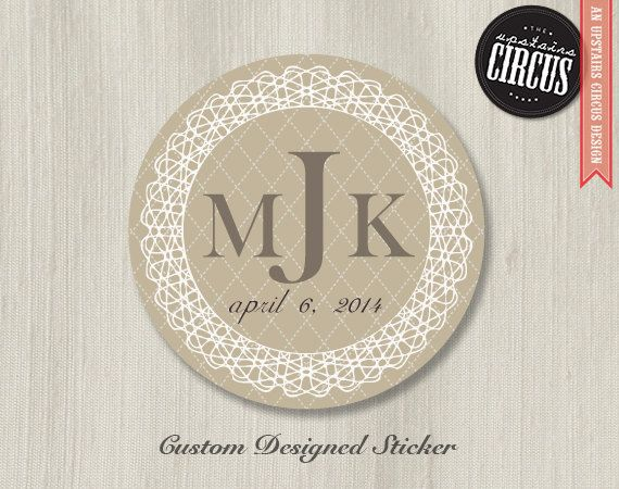 100 Custom Wedding Stickers  Classic Lace by UpstairsCircus, $25.00: Kl S Wedding, Wedding Ideas, Monogram Wedding, Favor Labels, W Our Logo, Wedding Stickers