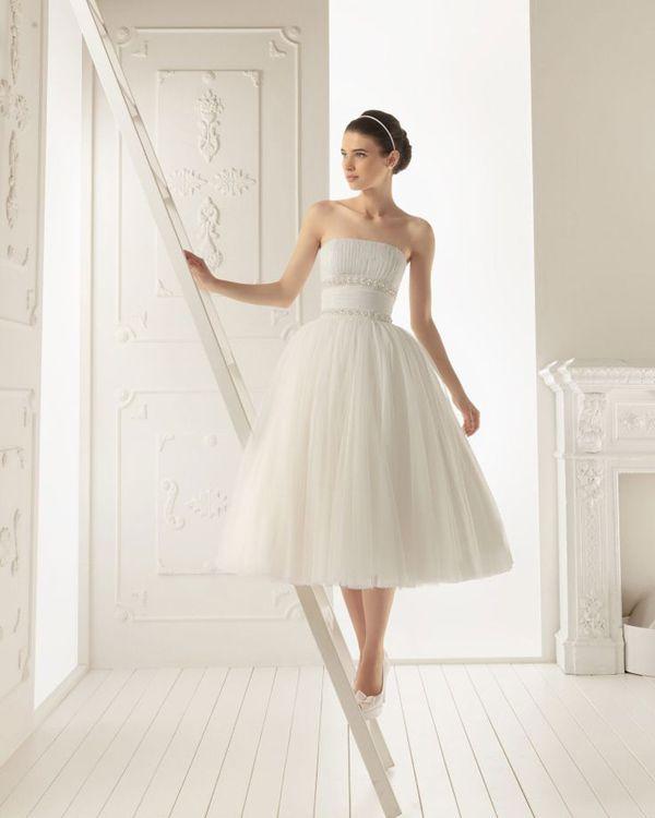 Aire Barcelona tea length wedding dress   The Wedding Scoop Spotlight: Short Wedding Dresses