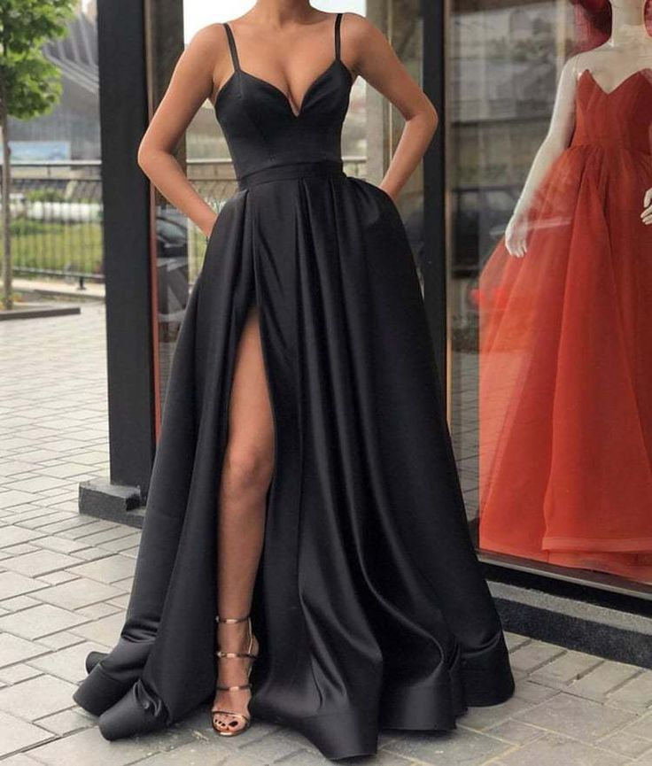 Black Evening Dresses Satin Long ,Split Evening Dresses A-Line 2018 Prom DressTh…