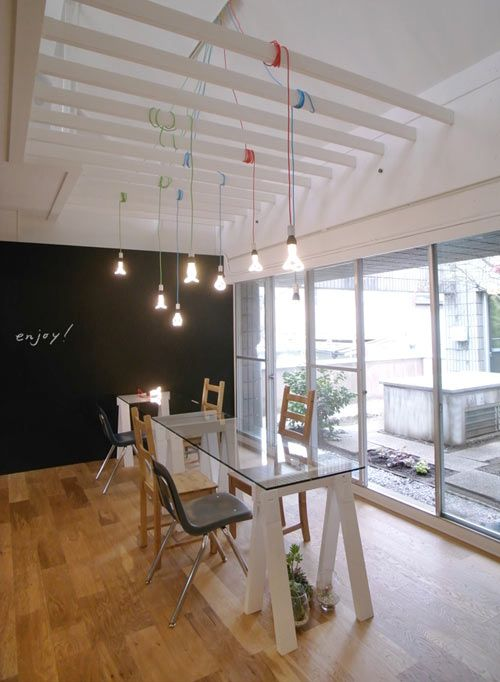 The office of DM0, which is a consulting company in Tokyo, is located in a 30-year old residence. The design group CHEKHOV came in and redesigned the space to give an overall playful and fun vibe and to make the staff happy (why aren't all employers like this?!). The results are a light and bright, open concept space with individual workstations.